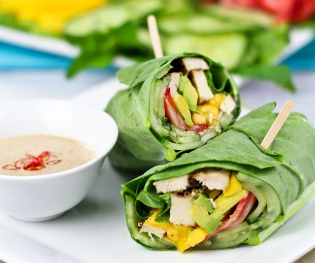 Citrus Chicken Collard Wraps with Creamy Avocado Dip