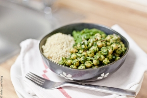 Chickpea Spinach Salad with Cilantro Lime Vinaigrette