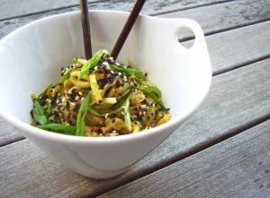 Cold peanut-sesame zucchini noodles