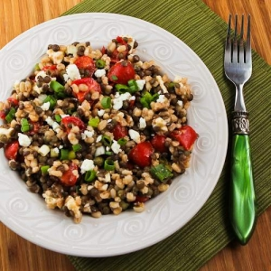 Lentil and Barley Greek-Style Salad with Tomatoes, Feta, and Capers