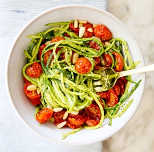 Zucchini Noodles with Pesto and Roasted Tomatoes