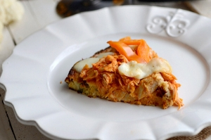 Spicy pizza made with a cauliflower crust