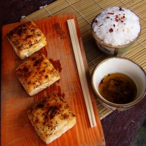 Baked Tofu in Spicy Ginger Garlic Oil