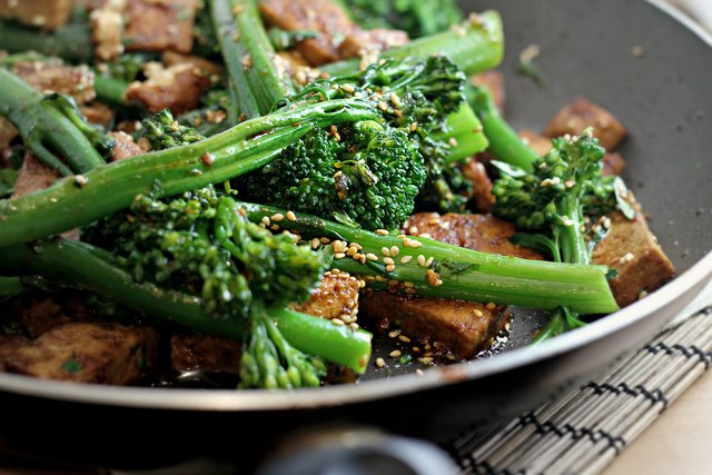 Broccolini with Tofu, Sesame and Coriander