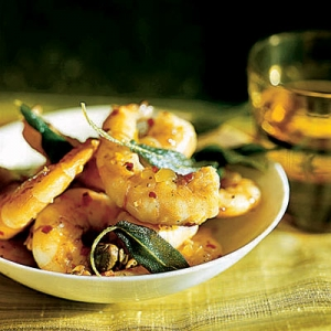 Shrimp with Meyer Lemons, Capers, and Fried Sage Leaves