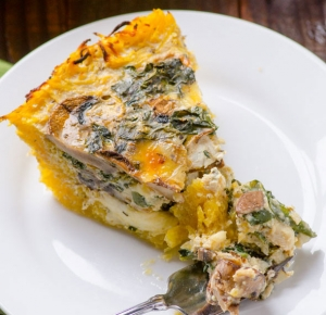 Kale and Mushroom Spaghetti Squash Crust Quiche