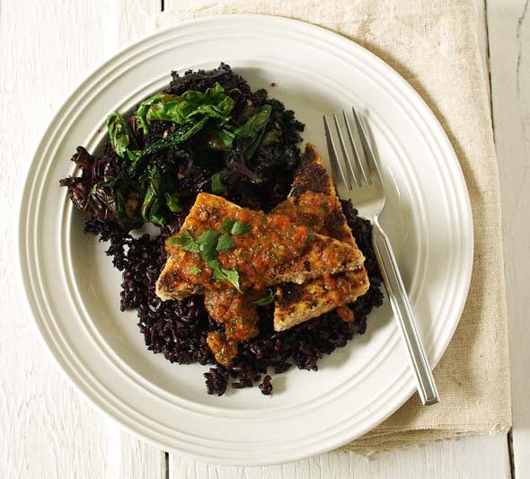 Almond Crusted Tofu with Roasted Red Pepper Sauce