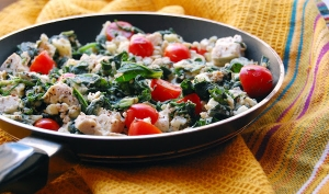 Kale, Spinach And Tofu Scramble With Tomatoes, Thyme And Feta