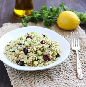 Detox Quinoa Salad with Almonds, Cranberries, and Leeks