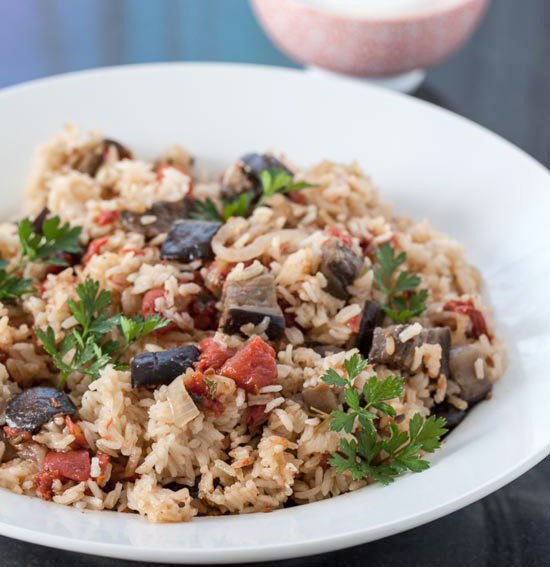 eggplant and tomato pilaf with greek yogurt