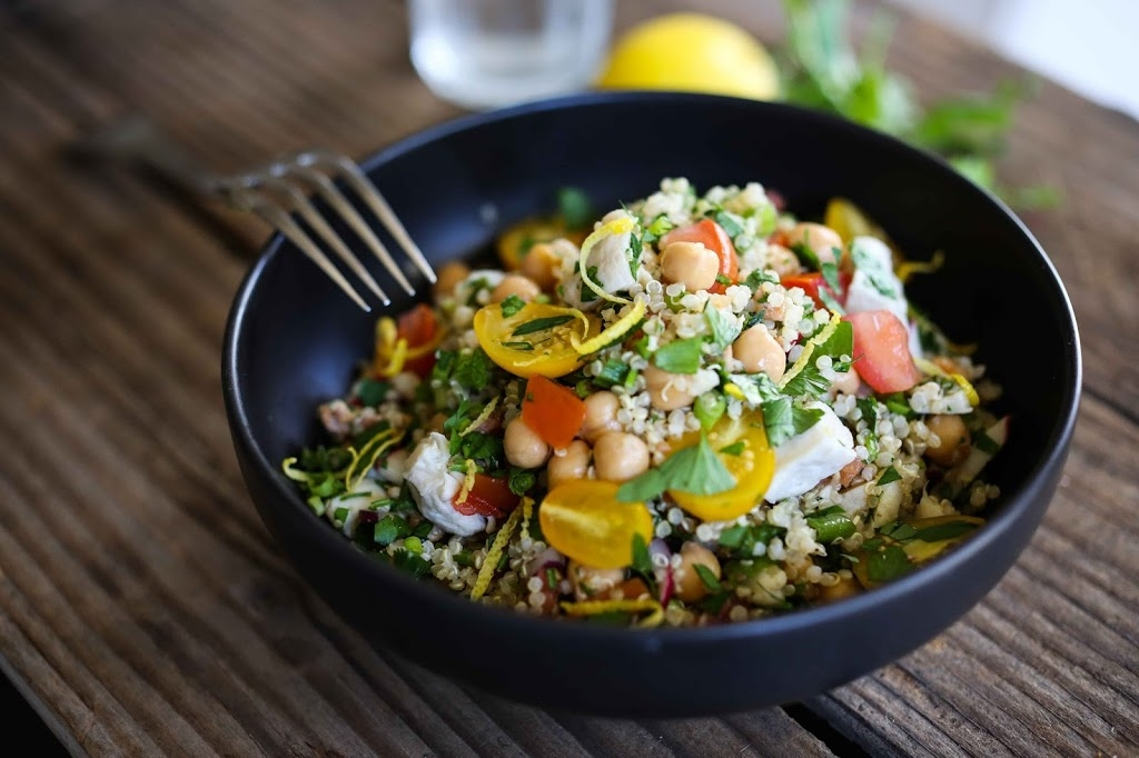 Quinoa Chicken Salad with Heirloom tomatoes