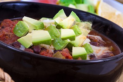 vegetarian chili avocado topping